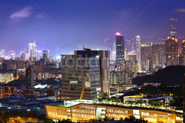 Belváros kerület Hongkong éjszaka város sziluett Stock fotó © leungchopan