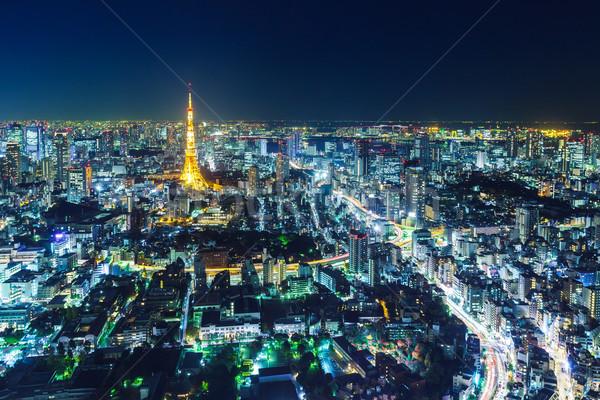 Сток-фото: Токио · Skyline · ночь · здании · башни · Cityscape