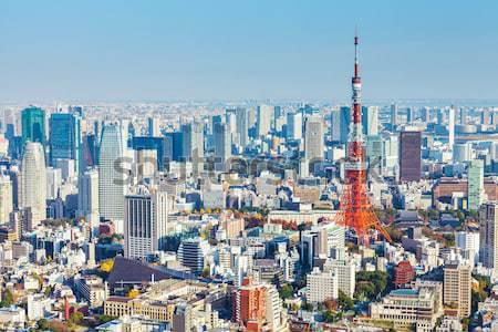 Tokió sziluett égbolt épület kék torony Stock fotó © leungchopan