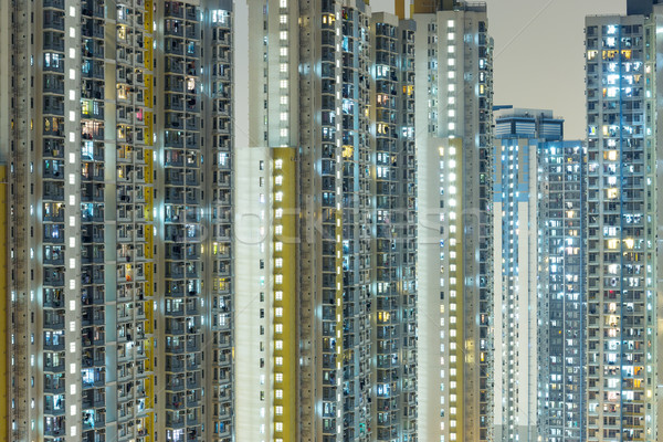 Openbare huisvesting Hong Kong muur venster nacht Stockfoto © leungchopan
