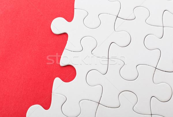 Befejezetlen puzzle piros üzlet szín siker Stock fotó © leungchopan