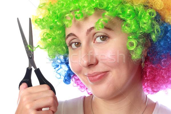 Donna colorato capelli forbici party moda Foto d'archivio © leventegyori