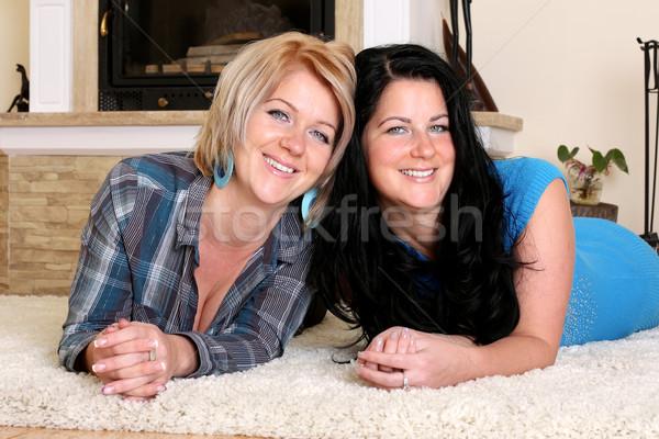 Iki mutlu kadın aile gülümseme Stok fotoğraf © leventegyori