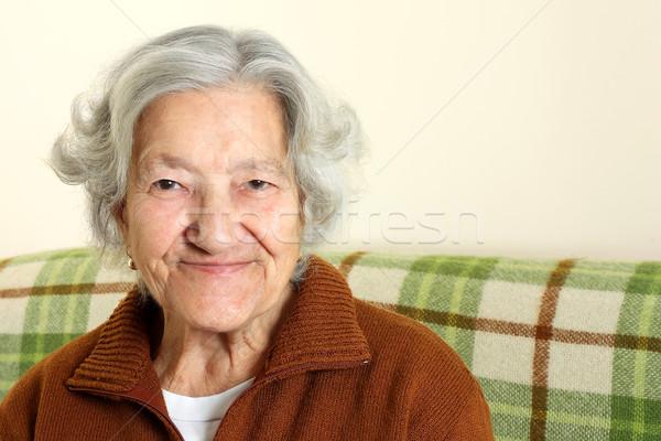 Portre mutlu kıdemli kadın kadın Stok fotoğraf © leventegyori