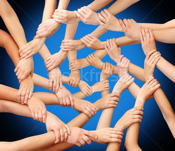 Communauté mains travail d'équipe réunion corps groupe Photo stock © leventegyori