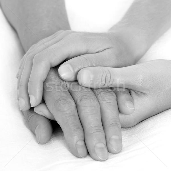 Tart kéz feketefehér orvos boldog orvosi Stock fotó © leventegyori