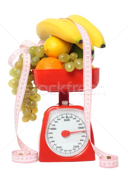 Scale with fruits isolated Stock photo © leventegyori