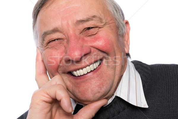Close up portrait of an elegant senior man isolated on white bac Stock photo © leventegyori