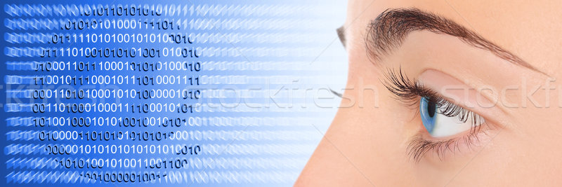 Donna occhi blu tecnologia e-mail computer Foto d'archivio © leventegyori