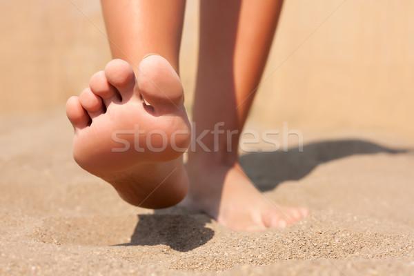 Closeup feet on beach summer Stock photo © leventegyori