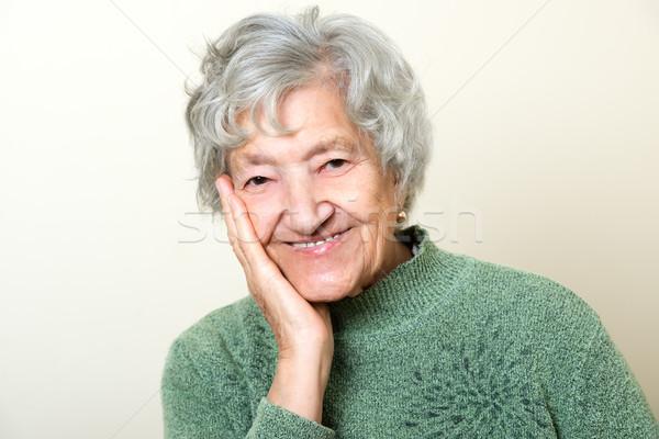 Cute senior dame portret gezicht vrouwen Stockfoto © leventegyori