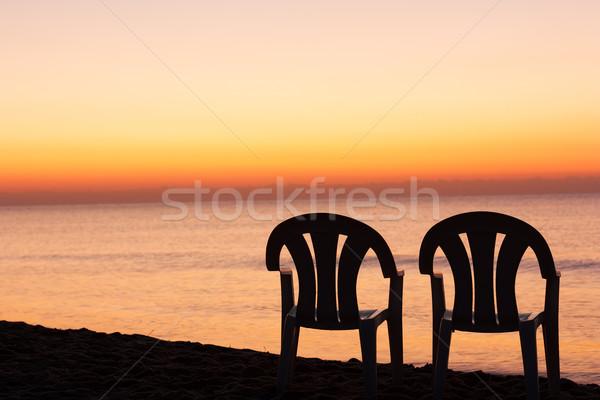 Zonsondergang oranje hemel zon landschap licht Stockfoto © leventegyori