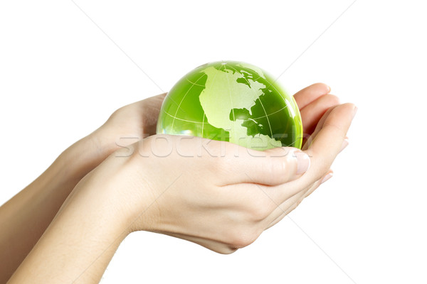 Hand holding the Earth isolated America Stock photo © leventegyori