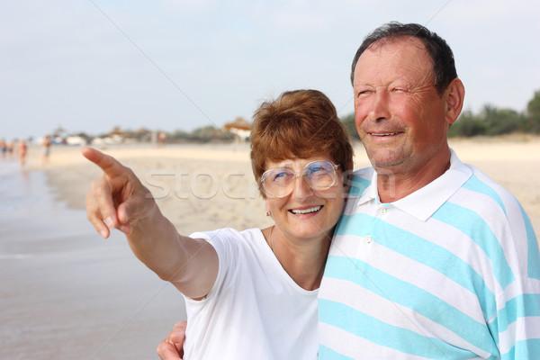 Stock fotó: Boldog · idős · pár · együtt · nő · tengerpart · szeretet
