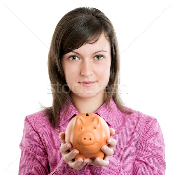 красивая женщина Piggy Bank женщину девушки улыбка студент Сток-фото © leventegyori