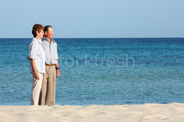 Mosolyog idős pár kék tengerpart égbolt mosoly Stock fotó © leventegyori