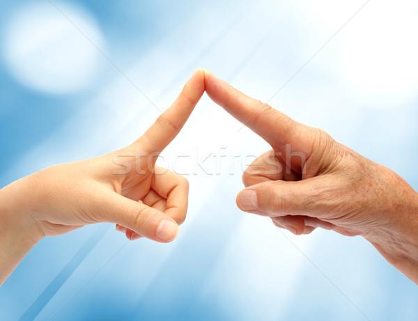 Kezek mutat ujj szimbólum szeretet boldog Stock fotó © leventegyori