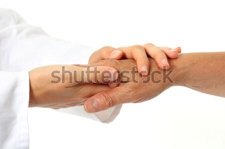 Ajuda mãos médico feliz médico casa Foto stock © leventegyori