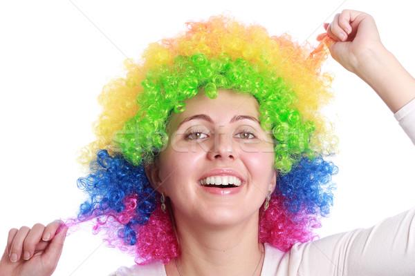 Smiling with clown hair Stock photo © leventegyori