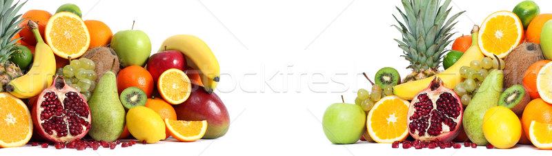 Fresh mixed fruits backgound both side Stock photo © leventegyori