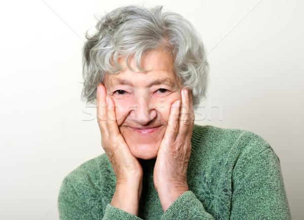Boldog idős portré nagymama mosoly nők Stock fotó © leventegyori