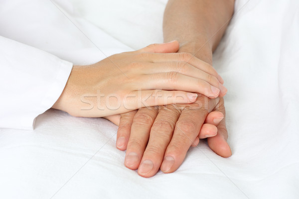 Patient hand in bed Stock photo © leventegyori