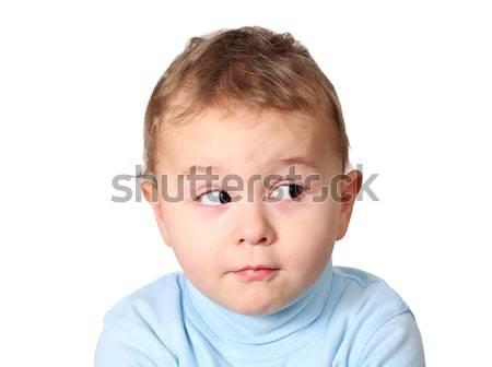 Cute baby naar product glimlach gezicht Stockfoto © leventegyori