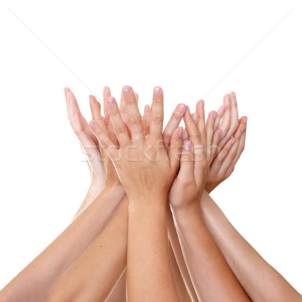 Kezek kéz a kézben tart kéz segítség siker Stock fotó © leventegyori