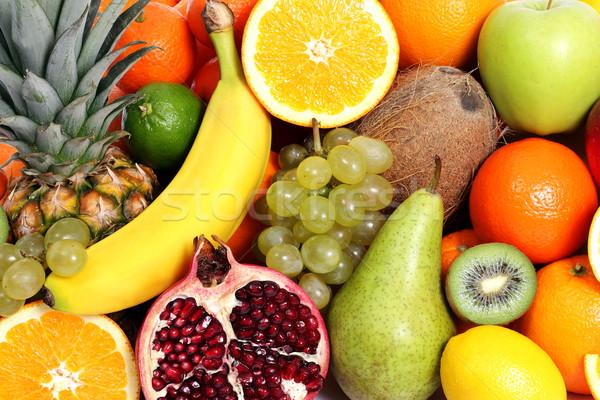 Vegyes gyümölcsök alma háttér csoport citrom Stock fotó © leventegyori