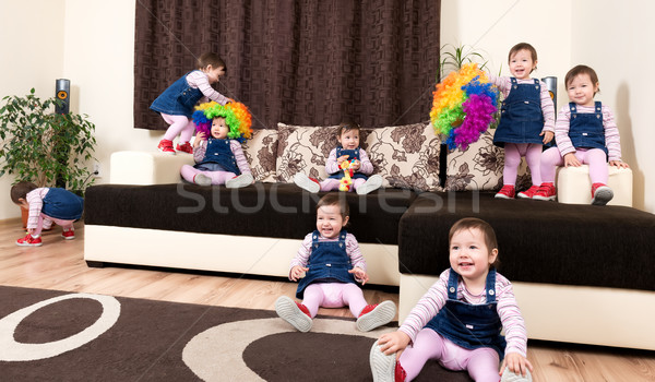 Group of little playful active child Stock photo © leventegyori