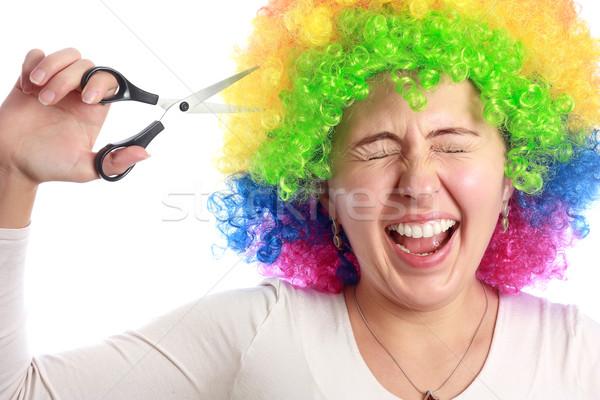 Femme coloré cheveux mode beauté amusement Photo stock © leventegyori