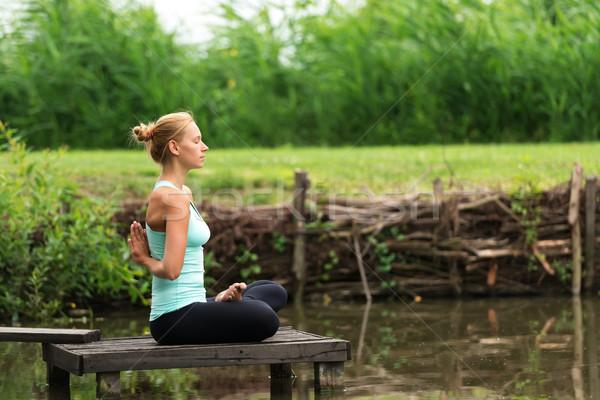 Reverse Prayer Yoga Stock photo © leventegyori