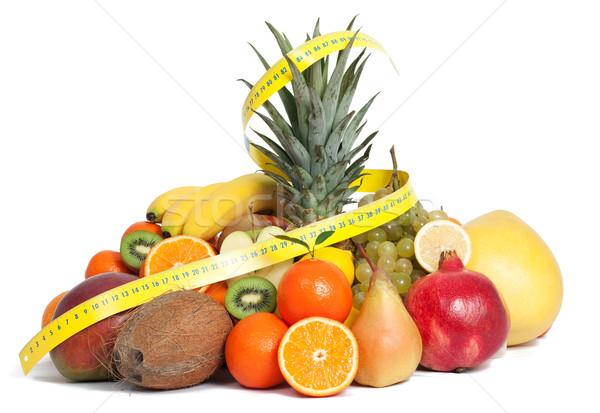 Centymetrem mieszany owoce owoców tle zielone Zdjęcia stock © leventegyori