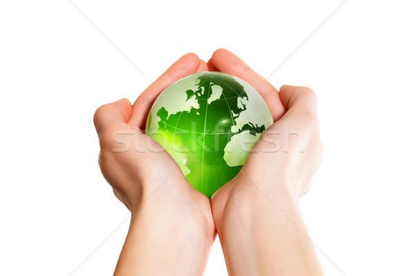 Green earth the world in hand Stock photo © leventegyori