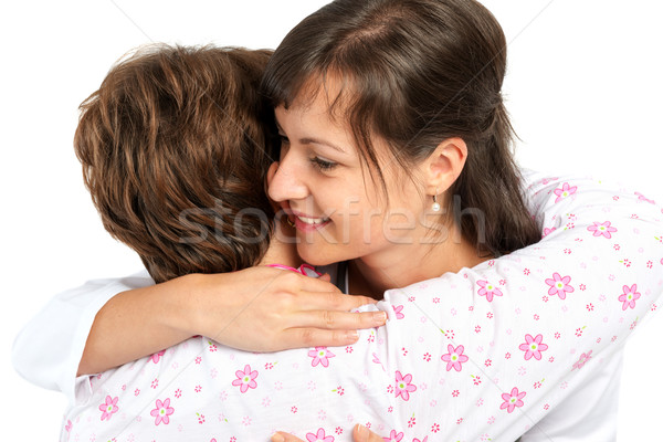 A senior woman and caregiver hugging Stock photo © leventegyori