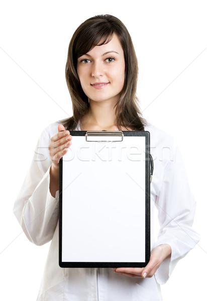 ストックフォト: 女性 · 医師 · クリップボード · 孤立した · 白