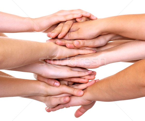 Hands on top of each other isolated Stock photo © leventegyori