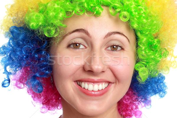 Young woman smiling with clown hair Stock photo © leventegyori