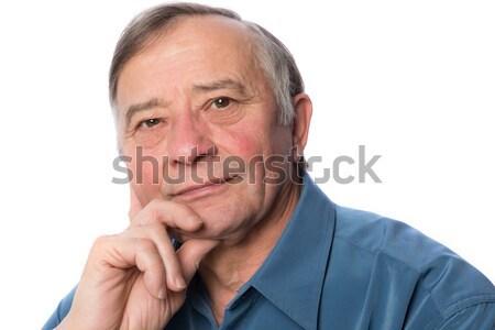 Portré középkorú férfi izolált fehér mosoly űr Stock fotó © leventegyori