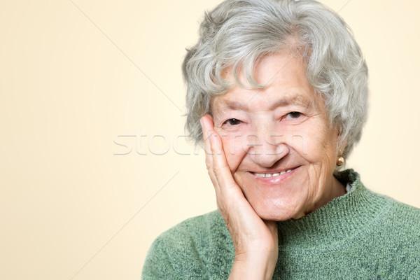 Sevimli eski kıdemli bayan portre yüz Stok fotoğraf © leventegyori