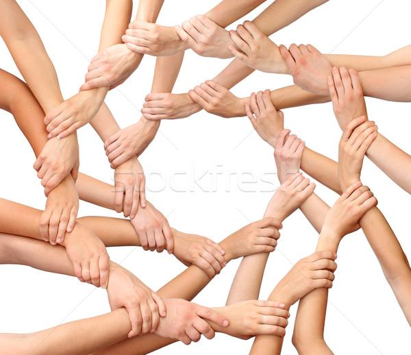Ring veel handen geïsoleerd hand lichaam Stockfoto © leventegyori