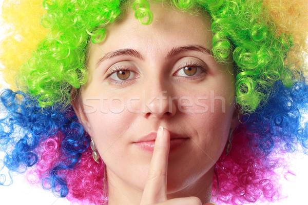 Nő bohóc haj buli boldog divat Stock fotó © leventegyori