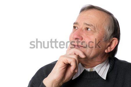 érett férfi felfelé néz remény izolált fehér arc Stock fotó © leventegyori