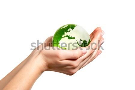 Verde mondo mano cuore vetro terra Foto d'archivio © leventegyori