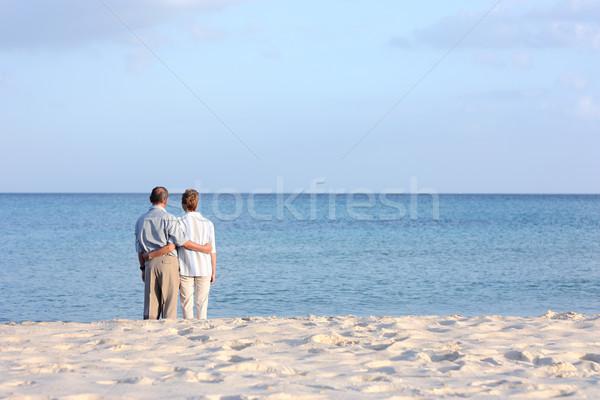 Senior couple at the beach Stock photo © leventegyori