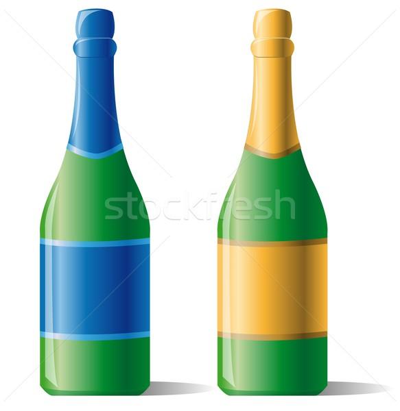 ボトル シャンパン パーティ ワイン 青 金 ストックフォト © Li-Bro