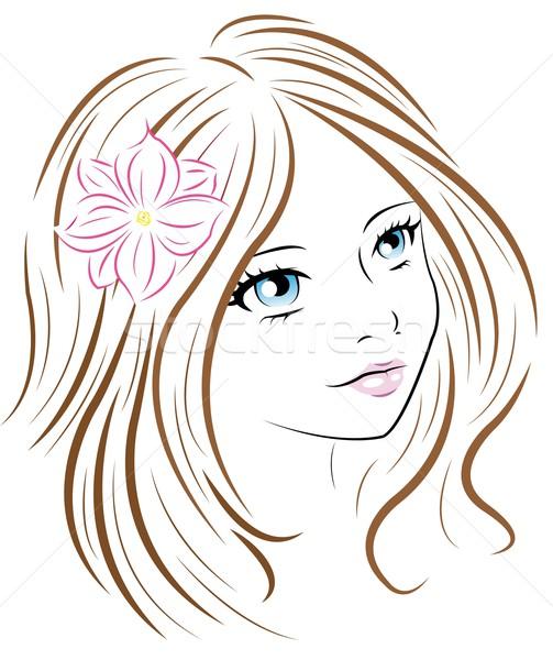 女性の顔 女性 花 バラ 美 青 ストックフォト © Li-Bro