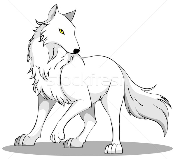 オオカミ 実例 白 自然 動物 キツネ ストックフォト © Li-Bro