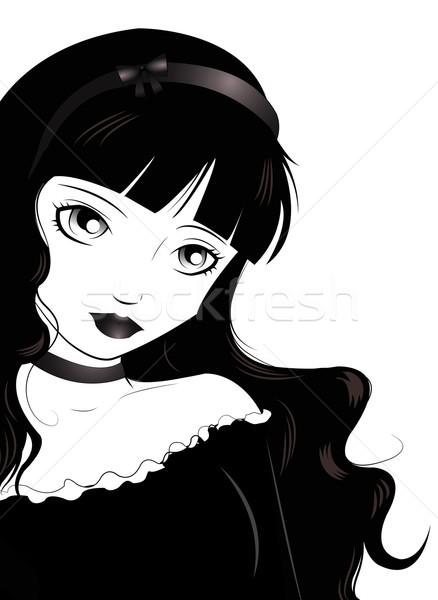 Gothique jeune femme style cheveux noir jeunes Photo stock © Li-Bro