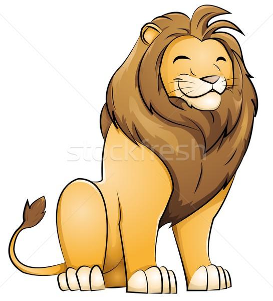Löwen grinsend Afrika funny Tier Zeichnung Stock foto © Li-Bro